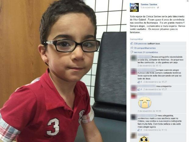 Clínica em que Vitor fazia fisioterapia lamentou a morte (Foto: Reprodução/Facebook)