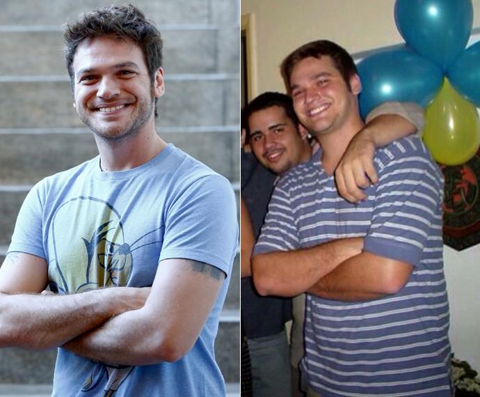 Antes e depois! Emilio Dantas abre o baú e mostra imagem do tempo em que pesava mais de 100kg (Foto: Raphael Dias/Gshow/Arquivo pessoal)