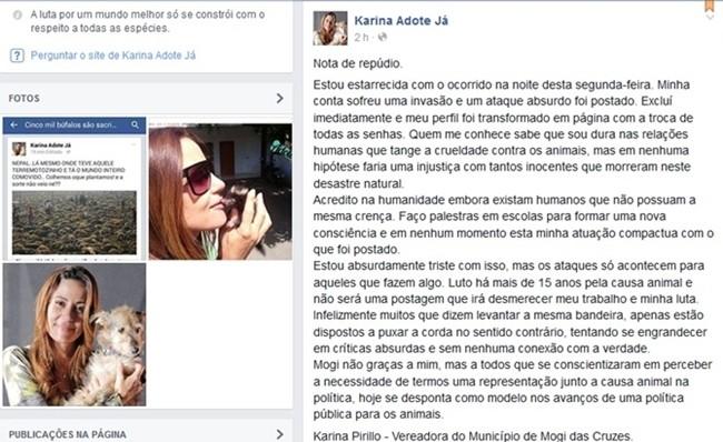 """Vereadora de Mogi das Cruzes postou em sua página """"nota de repúdio"""" informando que conta havia sido invadida (Foto: Reprodução/TV Diário)"""