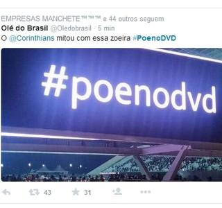 telão da arena corinthians provoca internacional (Foto: Reprodução/Twitter)