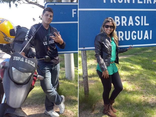 Wilson e Natiele durante a viagem de moto pela América do Sul (Foto: Wilson da Silva Alves/VC no G1)