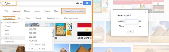 Escolha um dos tamanhos ou personalize a busca de imagens do Google (Foto: Reprodução/Barbara Mannara)