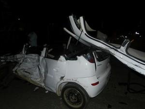Acidente ocorreu em Flores da Cunha, na Serra do RS (Foto: Gabriela Fiorio/Rádio Solaris)