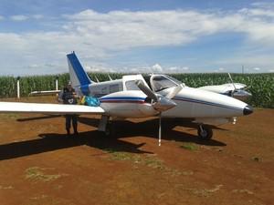Aeronave foi apreendida pela PM após pouso forçado em MT (Foto: Polícia Militar/Divulgação)