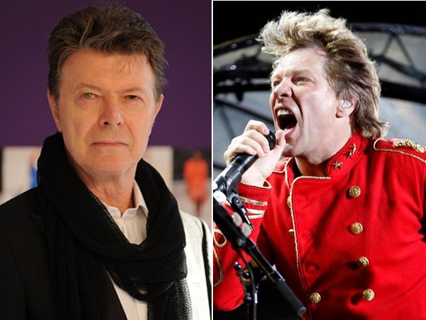 "À esquerda, David Bowie, que lança ""The next day"", e Jon Bon Jovi, cuja banda lança ""What about now"" (Foto: AFP e Reuters)"