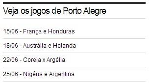 Jogos da Copa do Mundo em Porto Alegre (Foto: Reprodução)