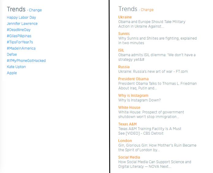 Antigo Trending Topics do Twitter e seu novo visual a direita (Foto: Montagem/Edivaldo Brito)