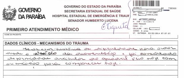 Boletim de Emergência oficial possui etiqueta e especificações técnicas, diz diretor do Hospital de Trauma de João Pessoa (Foto: Ascom Trauma-JP)