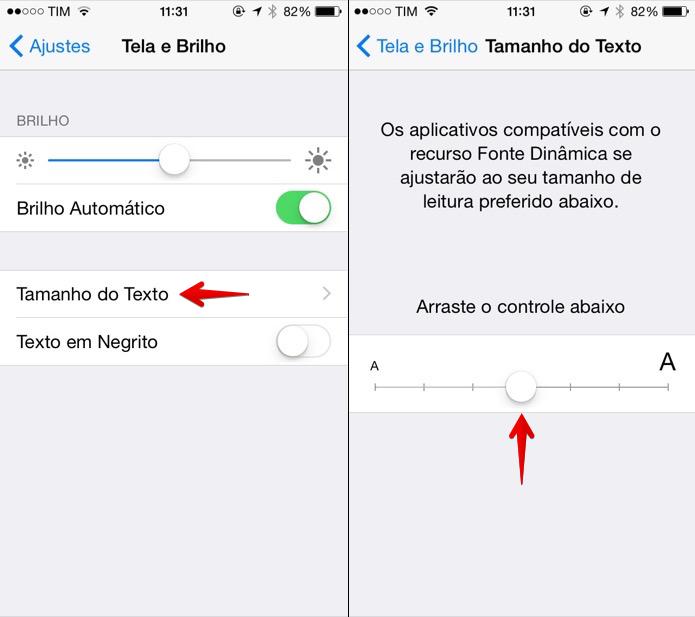 Alterando o tamanho do texto dos aplicativos (Foto: Reprodução/Helito Bijora)