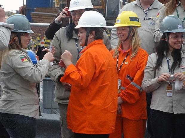 Presidente Dilma visita o Pólo Naval de Rio Grande (Foto: Guto Teixeira/RBS TV)