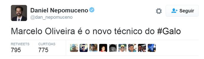 Daniel Nepomuceno usou o Twitter para confirmar a contratação de Marcelo Oliveira (Foto: Reprodução/Internet)
