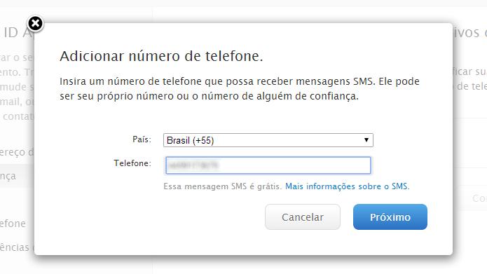 Entre com o número do seu celular (Foto: Reprodução/Helito Bijora)