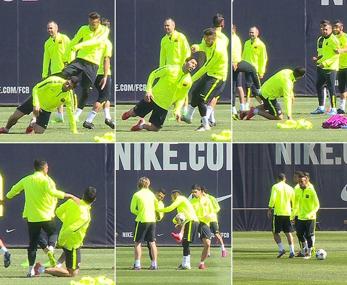neymar e suárez no treino do Barcelona (Foto: Cassio Barco)