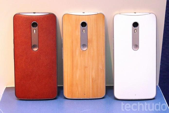 Dentre as opções de design do Moto X Style estão o couro legítimo e a madeira (Foto: Nicolly Vimercate/TechTudo)