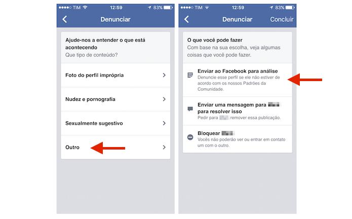 Enviando uma denúncia para análise dos monitores do Facebook pelo celular (Foto: Reprodução/Marvin Costa)