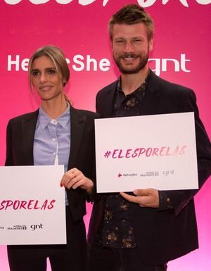 Fernanda Lima e Rodrigo Hilbert no evento de lançamento da campanha 'Eles Por Elas'.