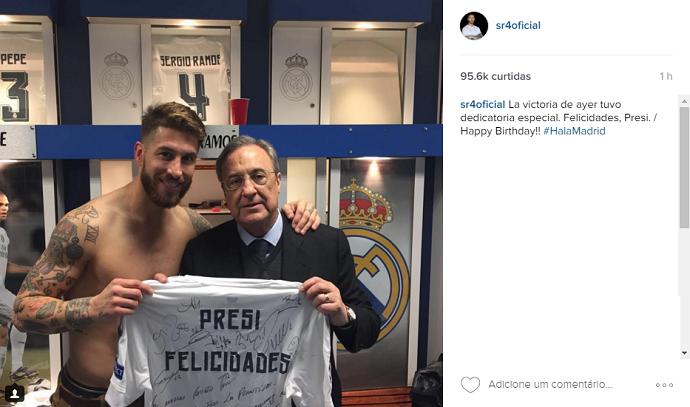 BLOG: Sergio Ramos entrega camisa de presente a Florentino Pérez por aniversário