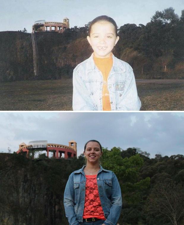 Lysandra Marçal participou da campanha reproduzindo uma fotografia do final dos anos 90, no Parque Tanguá (Foto: arquivo pessoal)