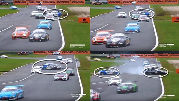 Colisão entre Baptista e Piquet na saída do S de alta (Foto: Divulgação/Frames do vídeo da prova da Porsche GT3 Cup)