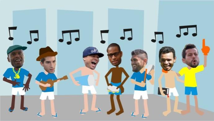 Jogadores do Cruzeiro são bem ecléticos no gosto musical (Foto: Ramon Faria / Arte TV Globo Minas)