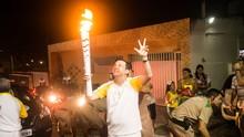 Editor do GloboEsporte.com RN participa do revezamento da Tocha Olímpica em Natal (Alexandre Lago)