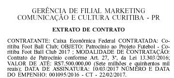 coritiba diário da união contrato patrocínio caixa econômica federal (Foto: Reprodução/Diário Oficial da União)