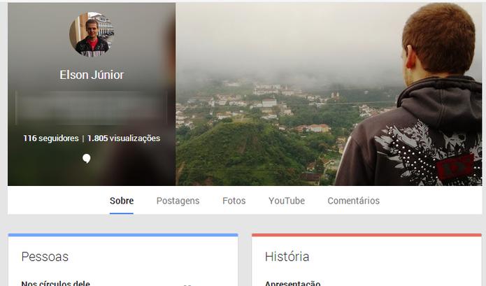 Google+ agora exibe o número de visualizações de perfis e de conteúdos do usuário (Foto: Reprodução/Elson de Souza)
