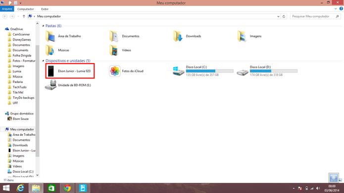 Windows Phone também oferece a opção de transferir fotos através do a Windows Explorer (Foto: Reprodução/Elson de Souza)