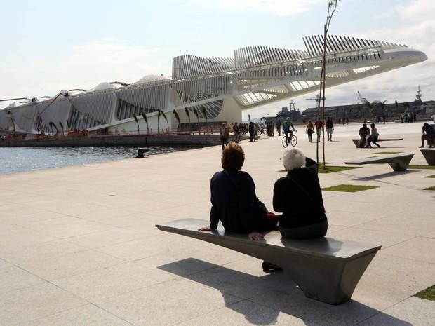 Museu do Amanhã, ainda em obras, já compõe o cenário da nova Praça Mauá (Foto: Beth Santos / Prefeitura do Rio)