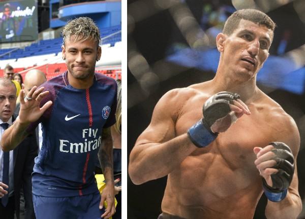 O jogador Neymar e seu segurança pessoal (Foto: Getty Images)