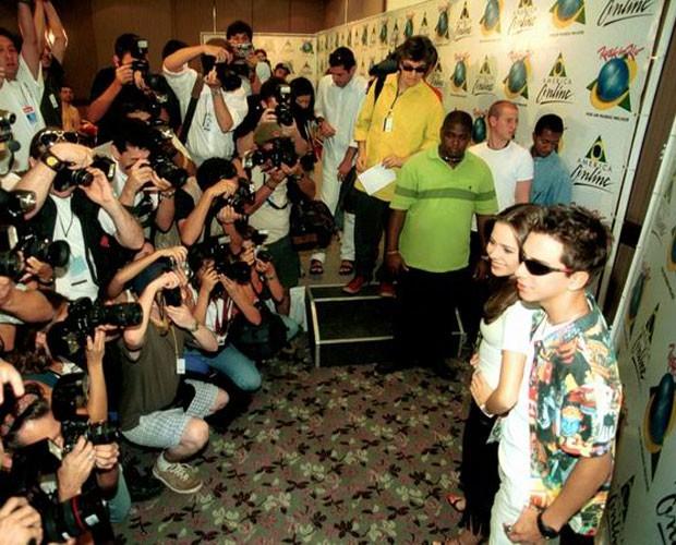 Sandy e Jr no Rock in Rio de 2001 (Foto: Divulgação)