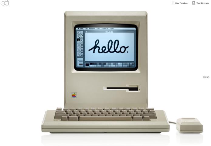 Apple cria site com vídeo para comemorar 30 anos do primeiro Macintosh (Foto: Reprodução/Apple 30 Years) (Foto: Apple cria site com vídeo para comemorar 30 anos do primeiro Macintosh (Foto: Reprodução/Apple 30 Years))