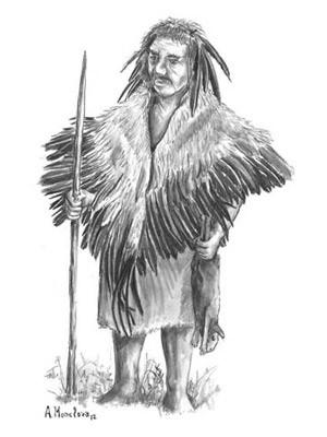 Desenho de como seria um neandertal usando penas como adorno (Foto: CSIC/Divulgação)