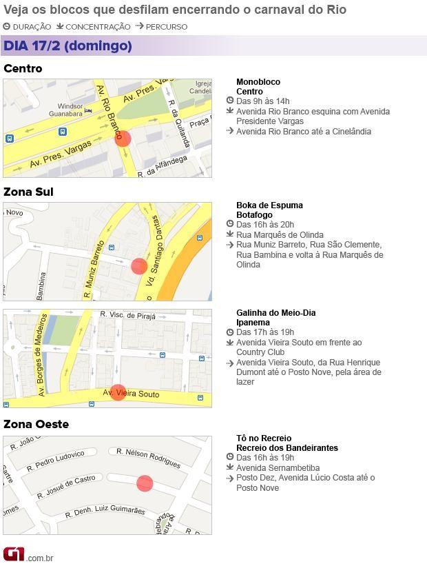 Mapa com interdições para desfile de blocos no Rio no domingo (17) (Foto: Arte/G1)