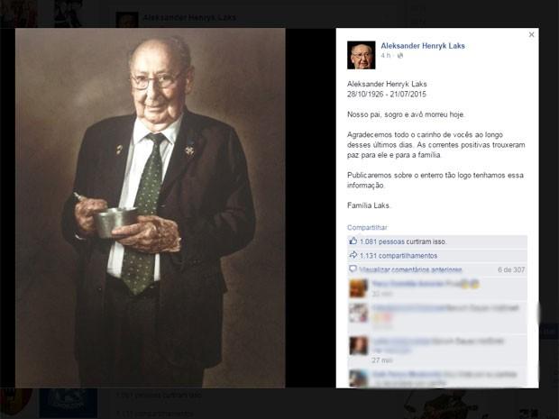 Família de Aleksander Henryk Laks publicou comunicado da morte no Facebook (Foto: Reprodução / Facebook)