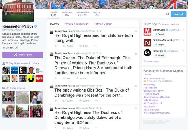 Palácio de Kensington Palace anuncia nascimento do bebê de Kate Middleton e Príncipe William (Foto: Twitter / Reprodução)