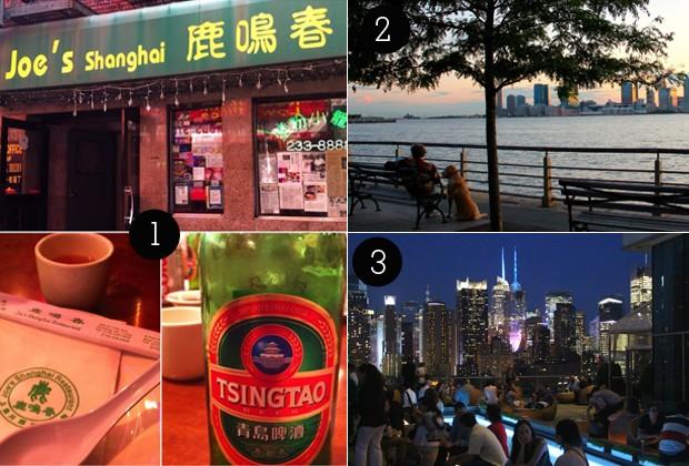 1. Restaurante Joe's Shanghai; 2. Hudson River Park; 3. Rooftop bar (Foto: Anna Bárbara/ Nós no mundo)