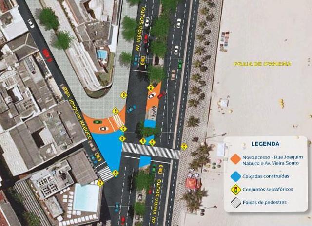 Motoristas vão poder acessar pista sentido Copacabana da Av. Vieira Souto diretamente pela Rua Joaquim Nabuco (Foto: Divulgação / Subprefeitura da Zona Sul)