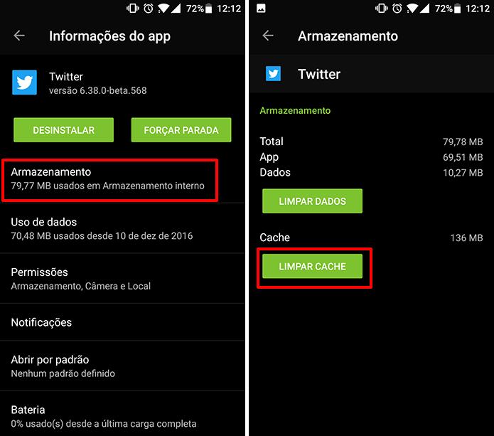 Twitter para Android também pode ter cache limpo nas configurações do sistema (Foto: Reprodução/Elson de Souza)