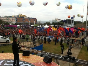 Show na Praça Campo de Bagatalle em ato da Força Sindical (Foto: Eduardo Carvalho/G1)