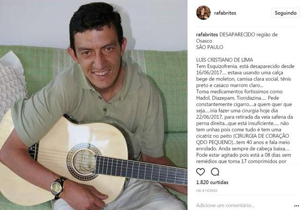 Post de Rafa Brites ajudou a encontrar homem desaparecido (Foto: Reprodução/Instagram)