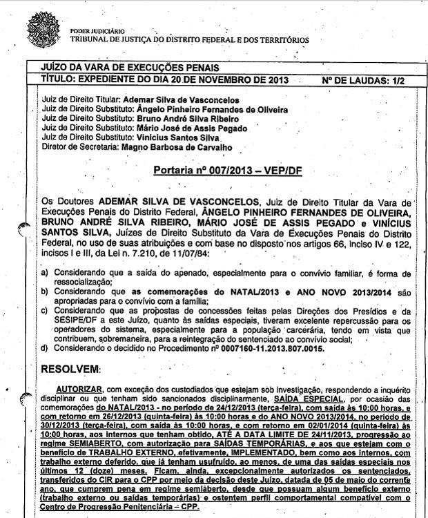 Com publicação de portaria, condenados do mensalão devem passar Natal e Réveillon na prisão (Foto: Reprodução)