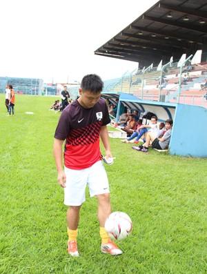 Yao treina no União Mogi (Foto: Thiago Fidelix)