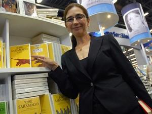 Pilar Del Río, viúva de Saramago, participa de evento em Guadalajara (Foto: AFP)