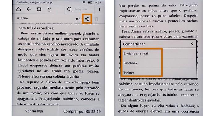 Acesse a ferramenta de compartilhamento no Kindle e selecione o serviço que preferir (Foto: Reprodução/Barbara Mannara)