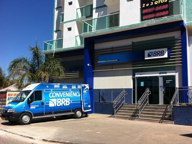Agência do BRB, no térreo de um prédio em Vicente Pires (Foto: Gabriel Luiz/G1)