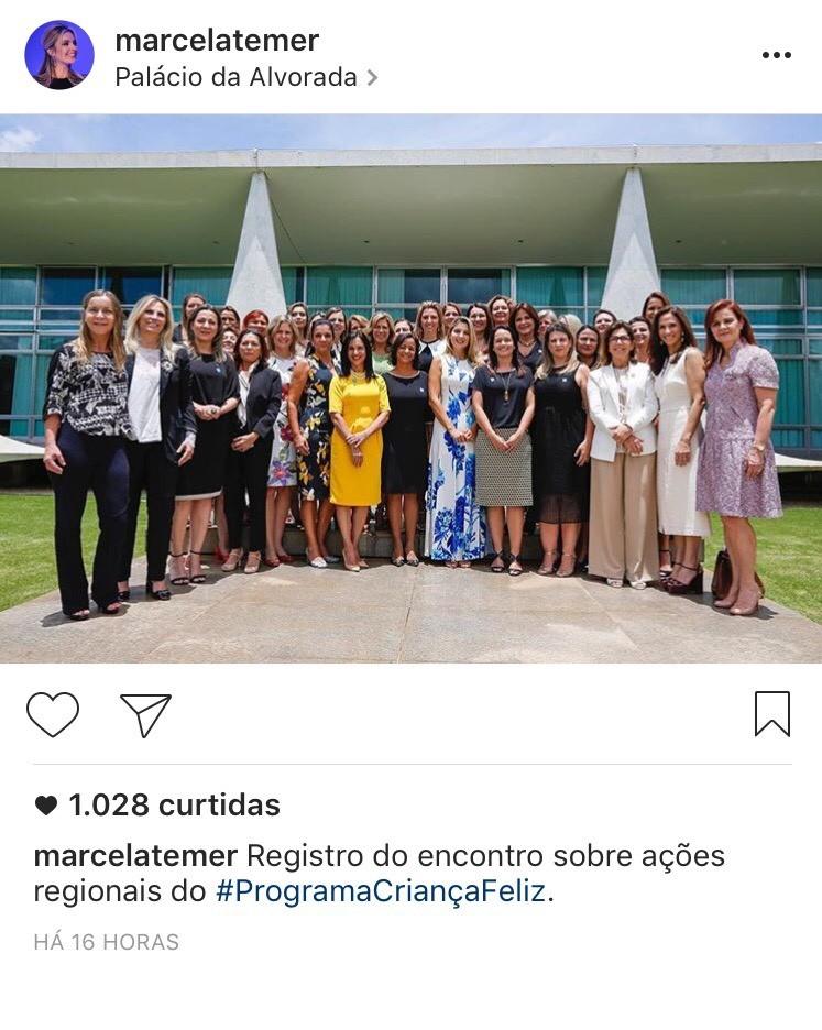 O segundo post, ao lado das primeiras-damas dos estados e capitais do País, teve 1.030 (Foto: Reprodução)