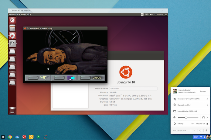 Chrome OS agora pode executar outro sistema Linux em uma janela (Foto: Reprodução/François Beaufort)