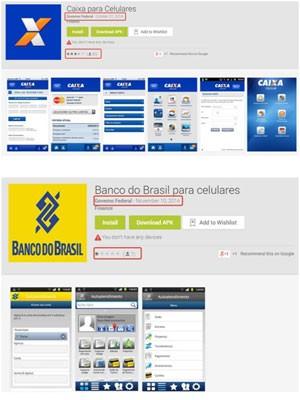 Aplicativos falsos para Android criados por cibercriminosos, 'Caixa para celulares' e 'Banco do Brasil para celulares'. (Foto: Divulgação/Google)
