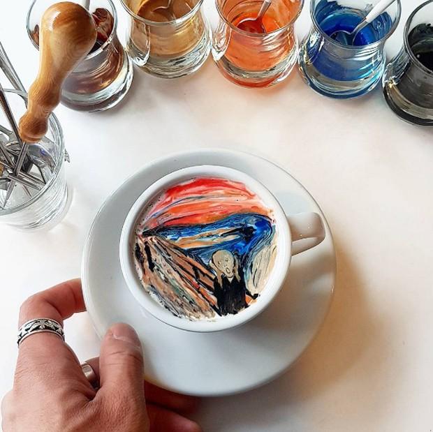 Artista recria obras de arte em cappuccinos (Foto: Reprodução Instagram @leekangbin91)